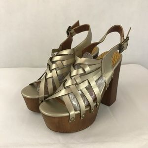 Qupid gold strap platforms faux wood with studs
